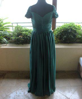 Vestido de seda corte imperio color esmeralda