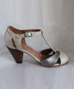 Zapato de novia bicolor cuero
