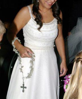 Vestido de novia de gasa con pasamaneria
