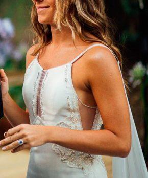 Vestido de novia de seda escote halter