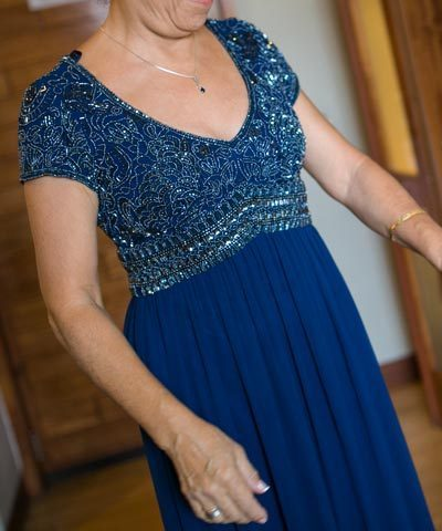 Vestido de madrina de gasa azul