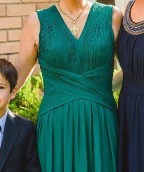 Vestido de madrina de chifon verde petroleo