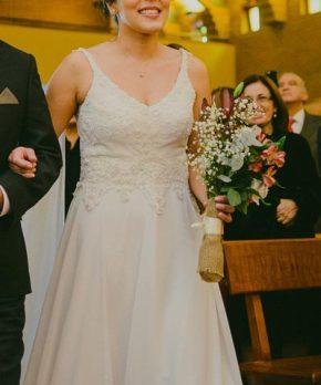 Vestido de novia blanco invierno escote en v