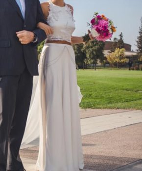 Vestido de novia crop top con escote halter