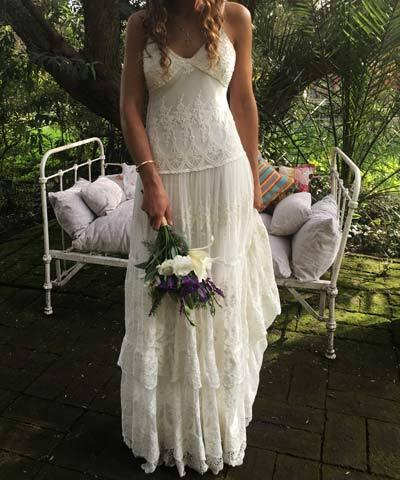 vestido usado de novia marca free people en www.entrevestidos.cl