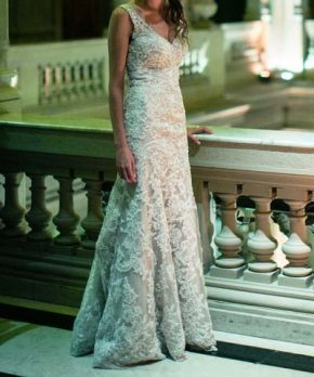 Vestido de novia martina liana con bordados plateados y pedreria