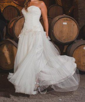 Vestido de novia usado de tul con corte en la cadera