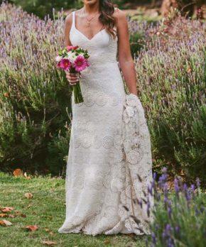 Vestido usado de macramé hecho por Maria Luisa Vega