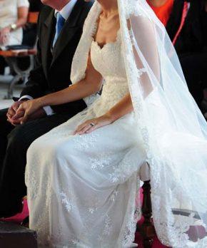 Vestido de novia usado de encaje frances para matrimonio