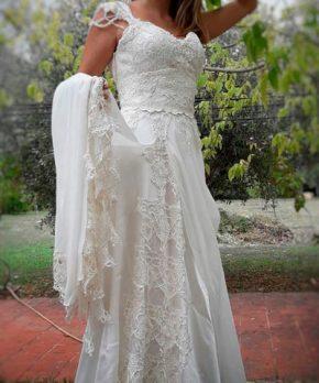 Vestido de novia estilo boho usado en Chile