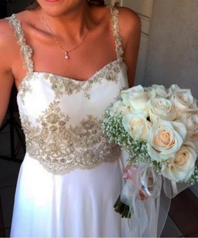 Vestido de novia de gasa usado marca Maria Subercaseaux