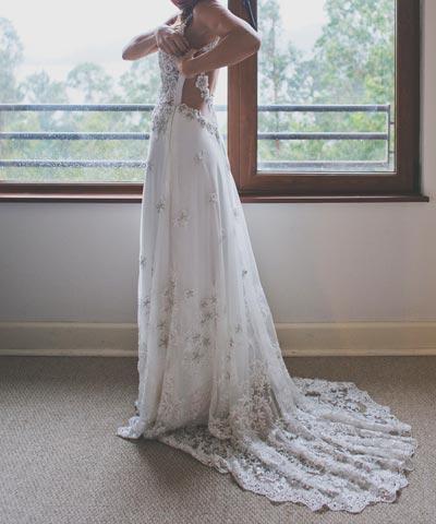 venta de vestido de novia bordado a mano en chile por priscila
