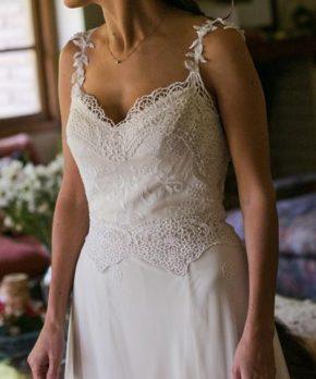 Vestido usado de novia para matrimonio hecho por Francisca Tornero