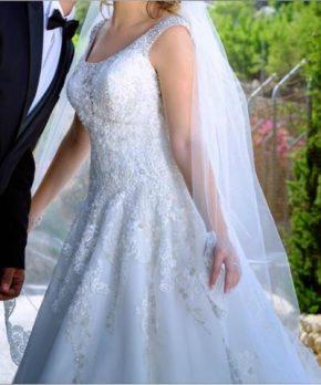 Vestido de novia de tul y pedrería La Casa Blanca
