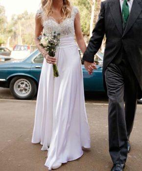 Vestido de novia usado a la venta de seda marca Trío
