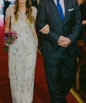 Vestido de novia usado BHLDN intervenido por Francisca Larraín