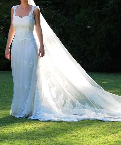 EntreVestidos.cl | Vestido de novia de encaje francés y escote de ...
