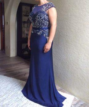 Vestido de madrina nuevo color azul con aplicaciones