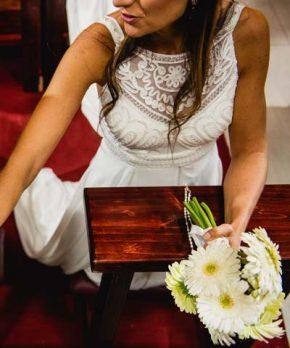 Vestido de novia usado de gasa hecho por la Fran Larraín