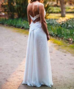 Vestido usado Cala novias de encaje y gasa con transparencias