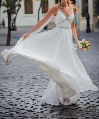 Vestido de novia usado de la diseñadora británica Jenny Packham