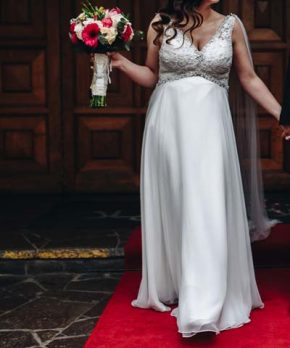 Vestido de novia Mori Lee usado una vez de encaje y gasa