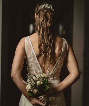 Vestido de novia usado una vez de gasa con transparencias marca Francisca Larraín