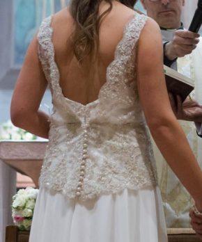 Vestido de novia Trío de gasa con detalles de encaje y pedrería