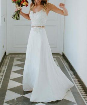 Vestido de novia Crop Top, hecho por Ama Novias