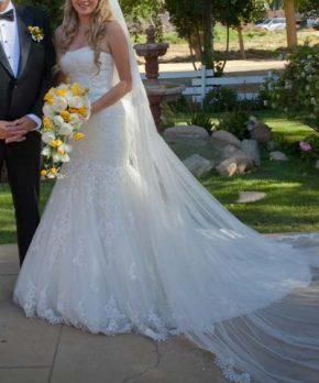 Vestido de novia de encaje, strapless y corte sirena