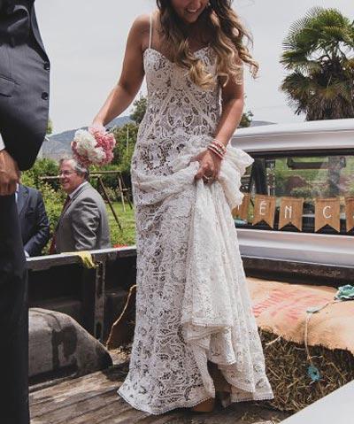 vestido rue de seine de novia a la venta, completo de encaje