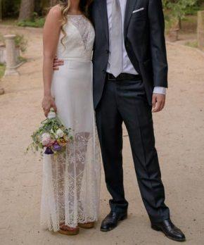 Vestido de novia con encaje y macramé a la venta