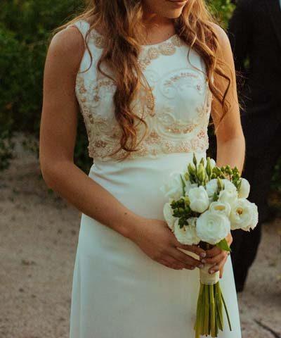 Vestido de novia de piel de ángel bordado a mano