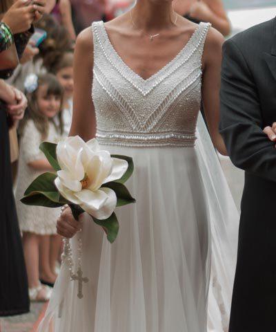 vestido luz edwards de novia con pedrería y tul a la venta en chile