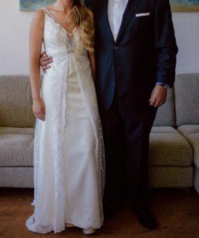 Vestido de seda piel de durazno de novia marca MLV en venta