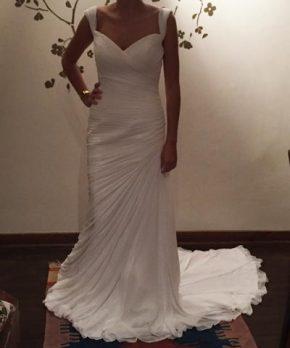 Vestido de novia de seda drapeado escote de corazón