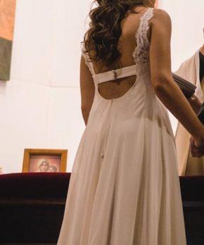 Vestido de novia de encaje francés y gasa en venta