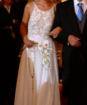 Vestido Trío de novia de gasa de seda bordada