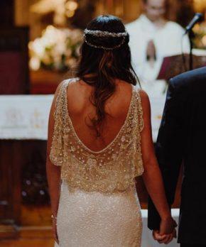 Vestido de novia usado Francisca Larrain con pedrería