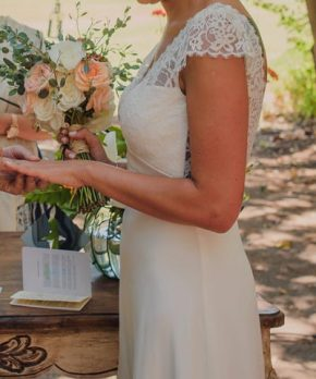 Vestido Blanc novias de encaje y seda
