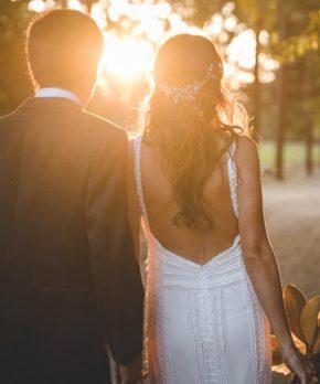 Vestido de novia bordado con mostacillas y perlas
