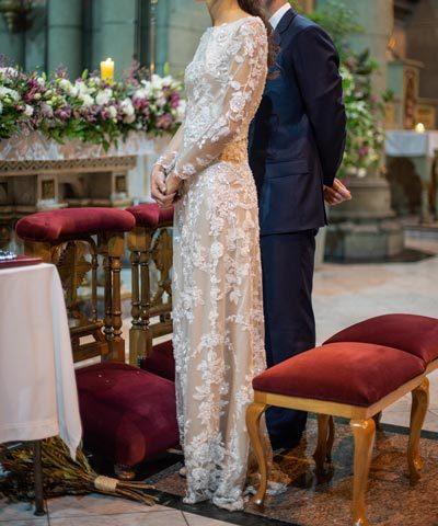Vestido de novia Daniela Patri de seda y encaje bordado a mano
