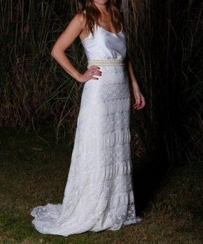 Vestido de novia boho de macramé