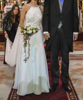 Vestido de novia de gasa con encaje francés