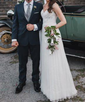 Vestido de novia drapeado de Macarena Palma
