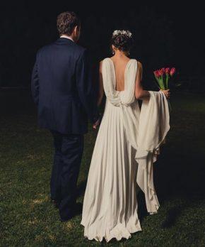 Vestido de novia de gasa de seda plisada
