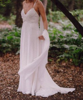 19222ef00 Vestido de novia de gasa chiffón Santo Encanto