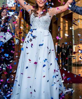 Vestido de novia Mori Lee con pedrería en venta